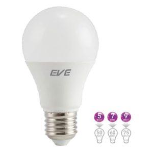 หลอด LED Bulb E27 A60 DOB ขนาด 5w, 7w, 9w แสงเดย์ไลท์, วอร์มไวท์ EVE 50,000 ชม. (แพ็คราคาส่ง)